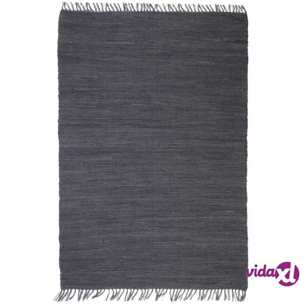 Image of vidaXL Käsin kudottu Chindi-matto puuvilla 120x170 cm antrasiitti