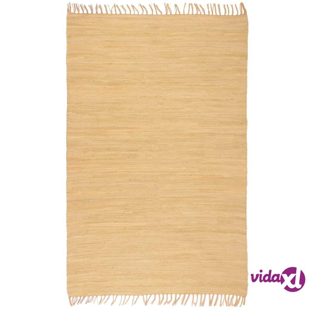 Image of vidaXL Käsin kudottu Chindi-matto puuvilla 160x230 cm beige