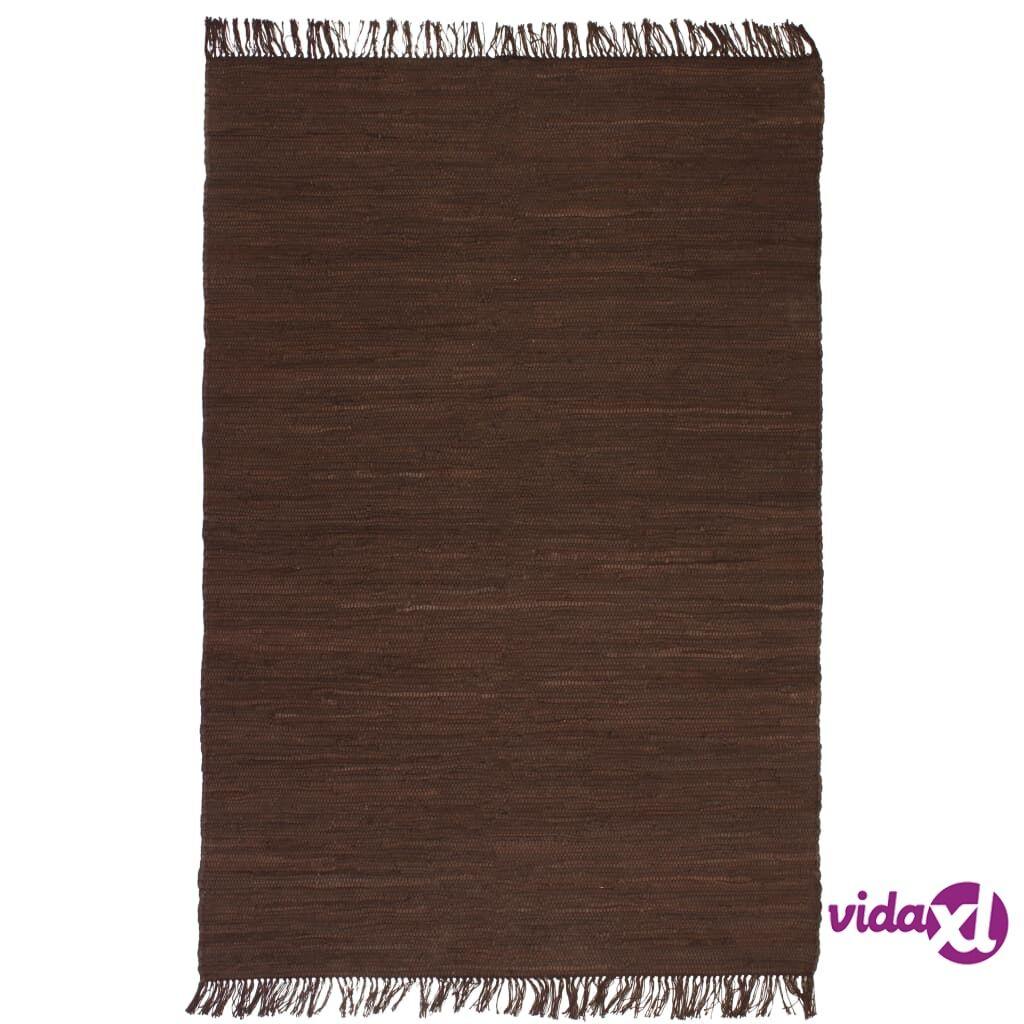Image of vidaXL Käsin kudottu Chindi-matto puuvilla 120x170 cm ruskea