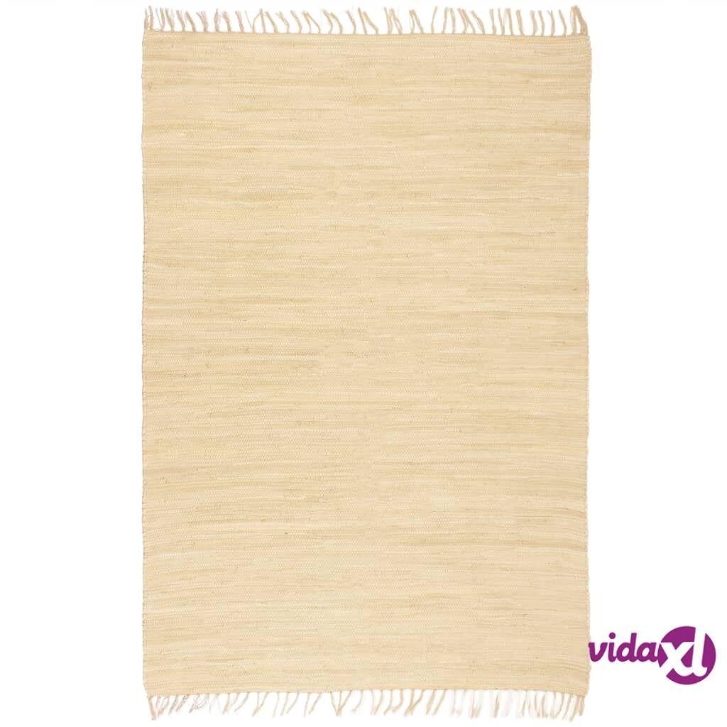 Image of vidaXL Käsin kudottu Chindi-matto puuvilla 120x170 cm kerma