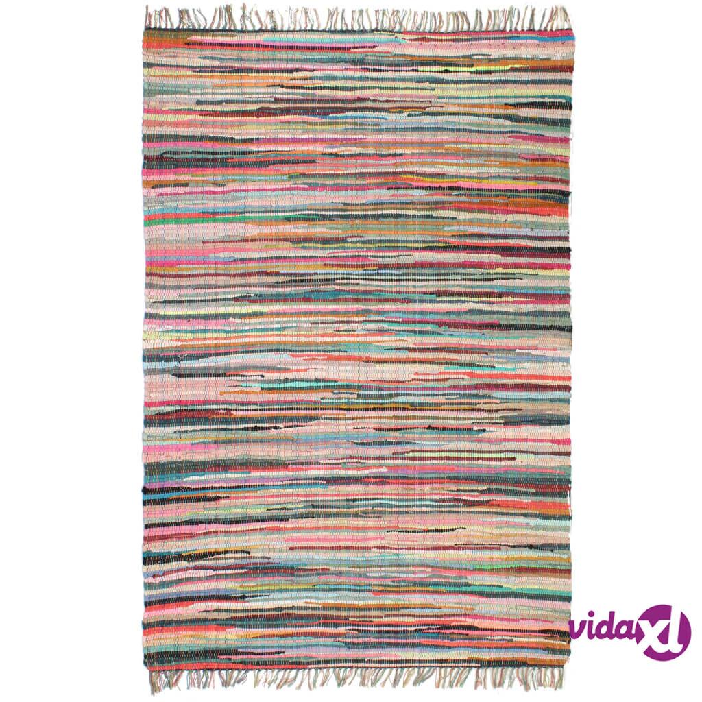Image of vidaXL Käsin kudottu Chindi-matto puuvilla 120x170 cm monivärinen