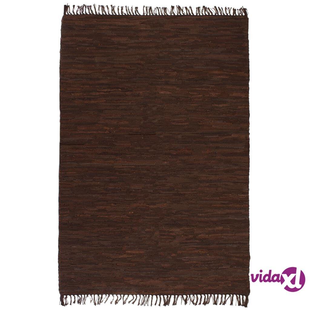 vidaXL Käsin punottu Chindi-matto nahka 190x280 cm ruskea