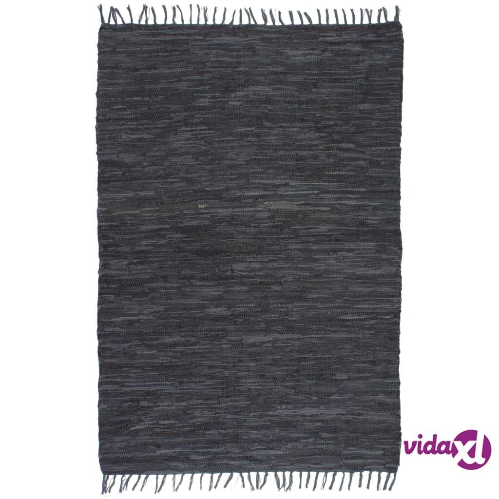 vidaXL Käsin punottu Chindi-matto nahka 160x230 cm harmaa