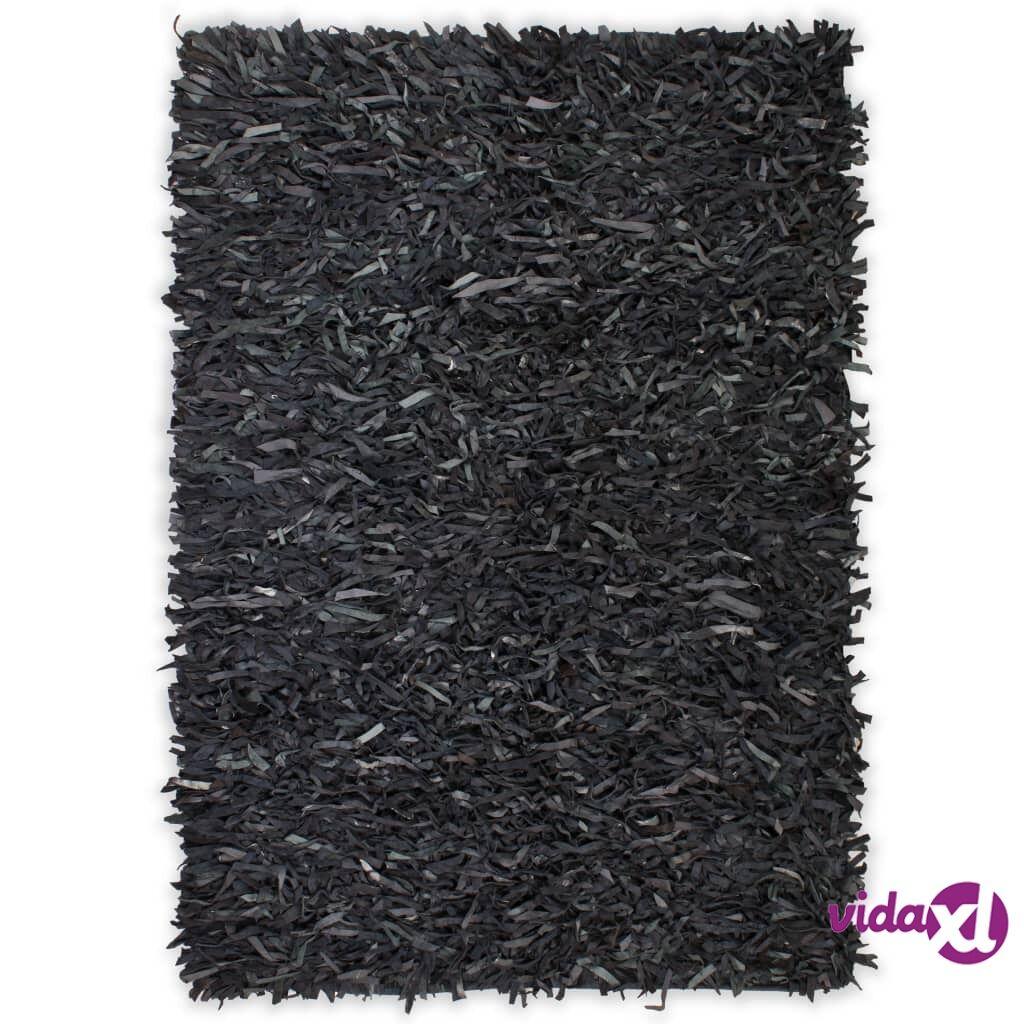 Image of vidaXL Shaggy-matto aito nahka 120x170 cm harmaa