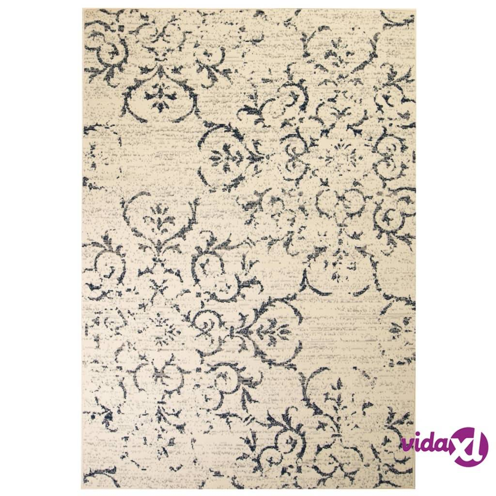 Image of vidaXL Moderni matto kukkakuvio 120x170 cm beige/sininen