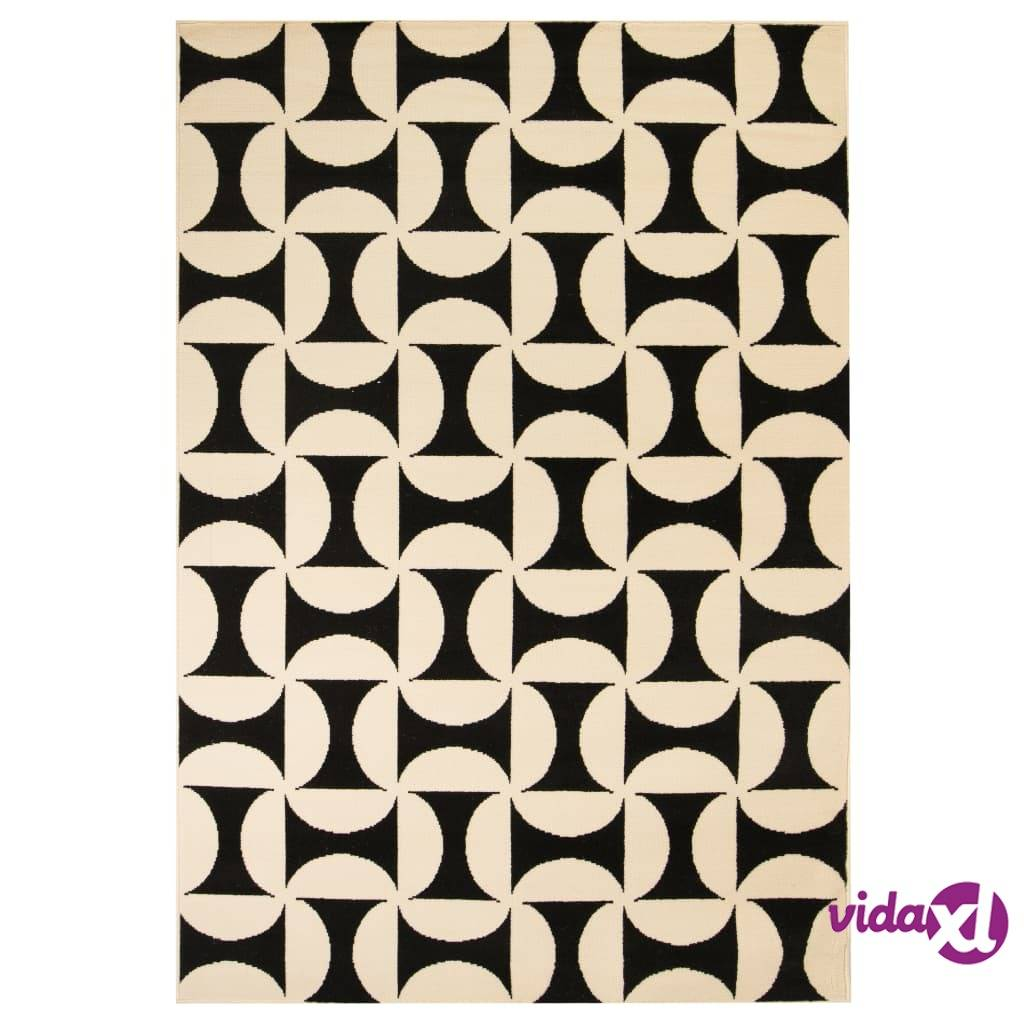 Image of vidaXL Moderni matto geometrinen kuvio 120x170 cm beige/musta