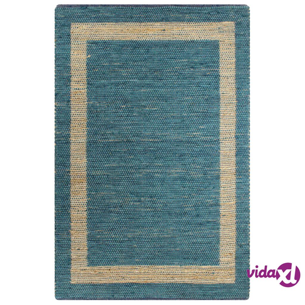 Image of vidaXL Käsintehty juuttimatto sininen 160x230 cm