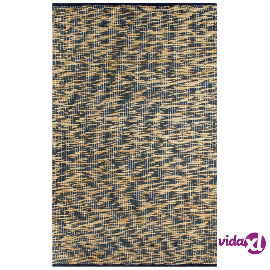 Image of vidaXL Käsintehty juuttimatto sininen ja luonnollinen 160x230 cm
