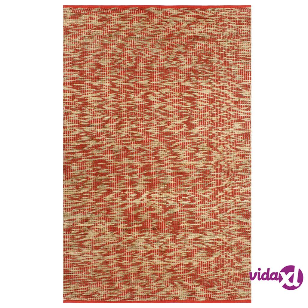 Image of vidaXL Käsintehty juuttimatto punainen ja luonnollinen 160x230 cm