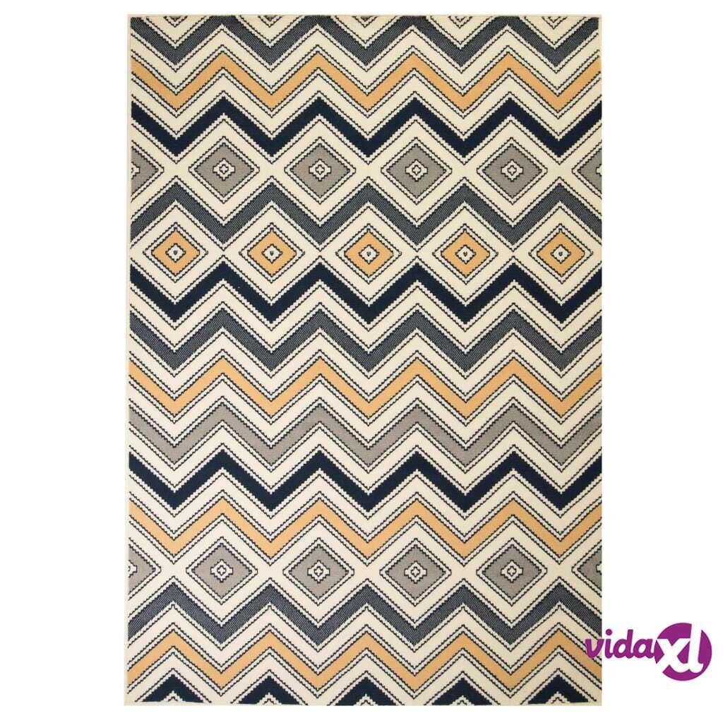 vidaXL Moderni matto siksak-kuvio 140x200 cm ruskea/musta/sininen