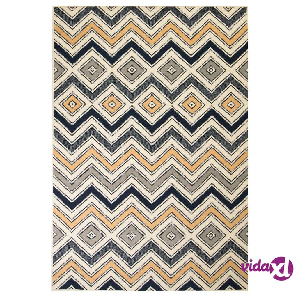 vidaXL Moderni matto siksak-kuvio 160x230 cm ruskea/musta/sininen