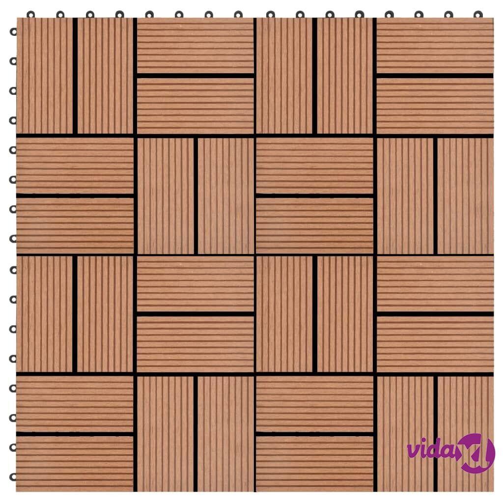 vidaXL Lattialaatat 11 kpl WPC 30x30 cm 1 m² ruskea