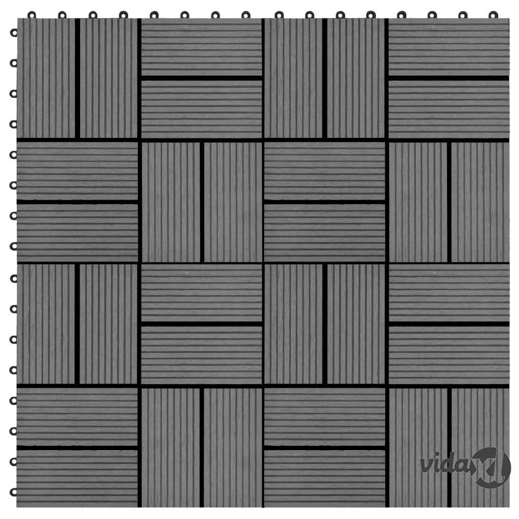 vidaXL Lattialaatat 22 kpl 30x30cm 2 m² puukomposiitti harmaa