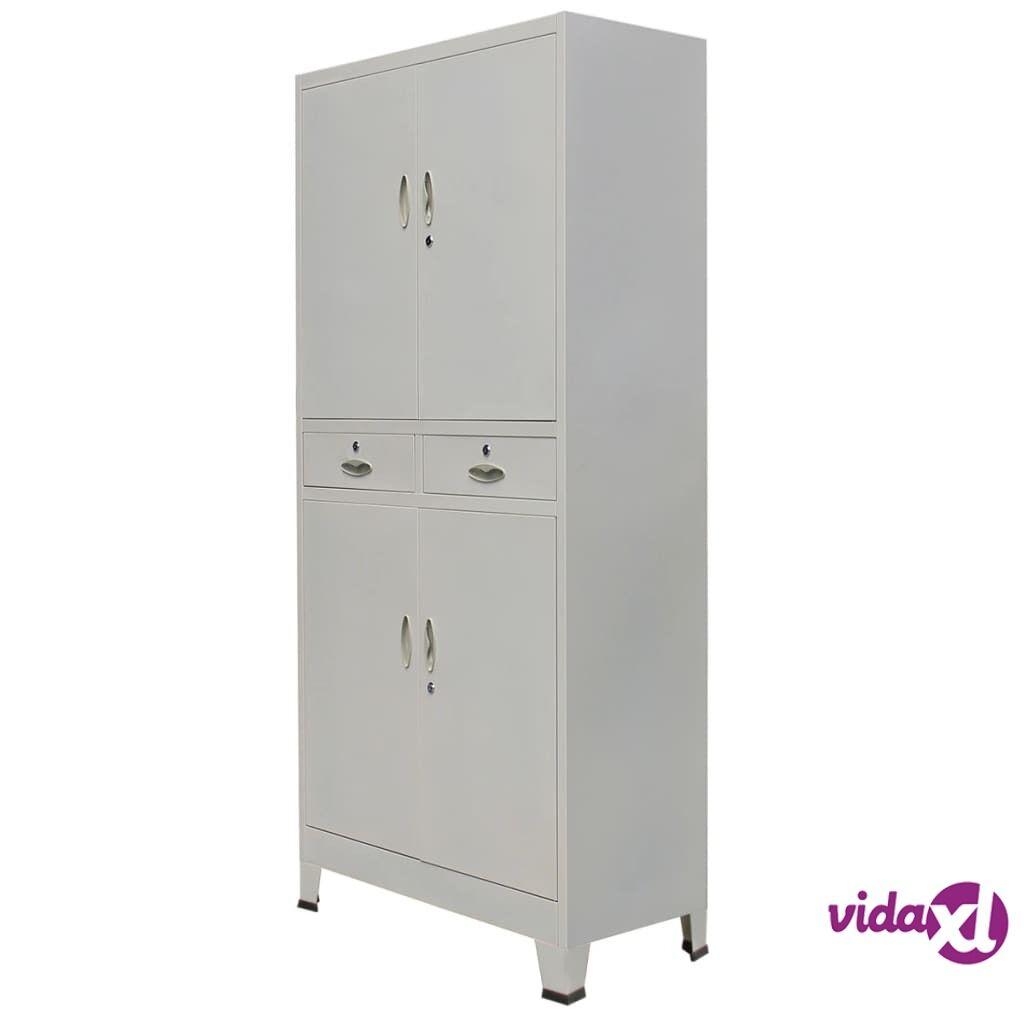 Image of vidaXL Toimistokaappi 4 ovella Teräs 90x40x180 cm Harmaa