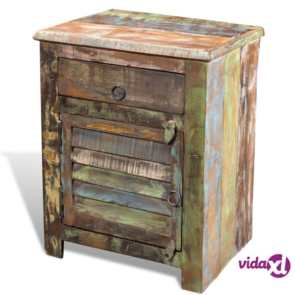 Image of vidaXL Päätypöytä 1 vetolaatikolla  ja 1 ovella Kierrätetty puu