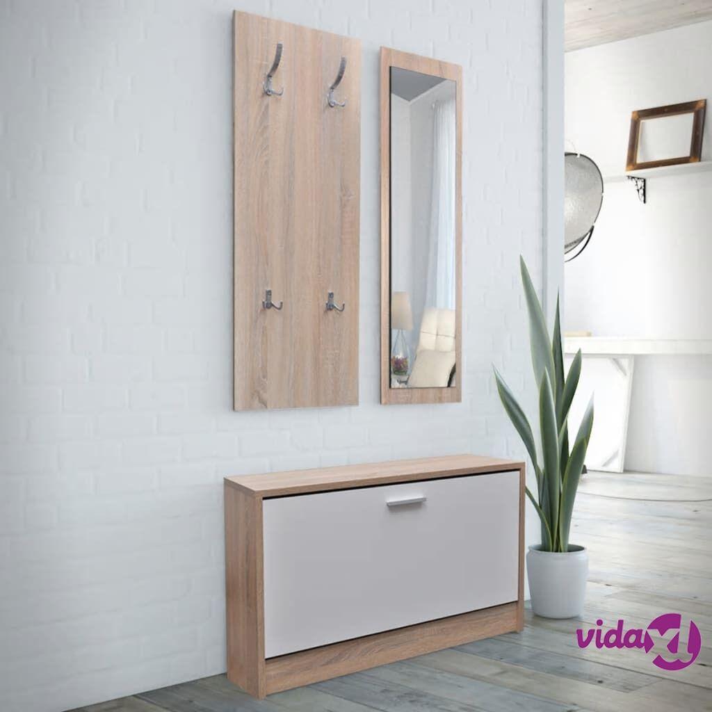 Image of vidaXL Tammi ja Valkoinen 3-in-1 Puinen Kenkäkaappisarja
