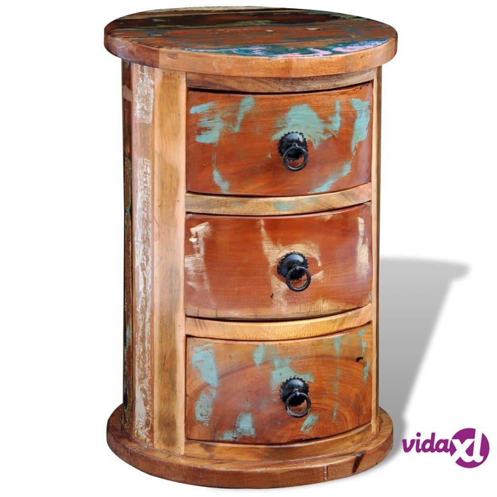 vidaXL Pyöreä laatikosto 3 vetolaatikolla Kierrätetty puu