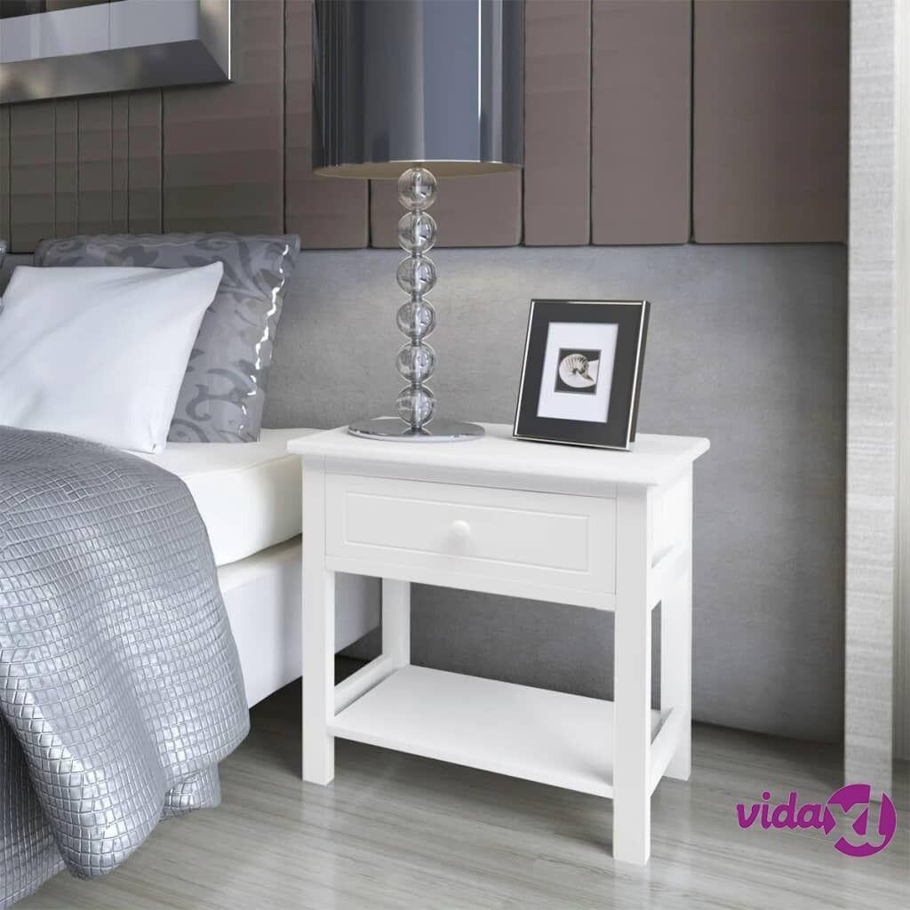 Image of vidaXL Yöpöytä 2 kpl Puu Valkoinen
