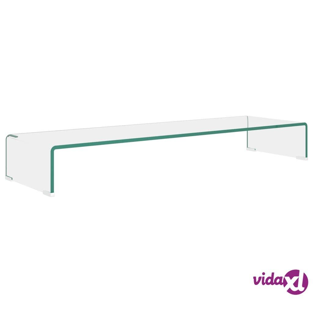 vidaXL TV-taso/Näyttöteline Kirkas lasi 100x30x13 cm