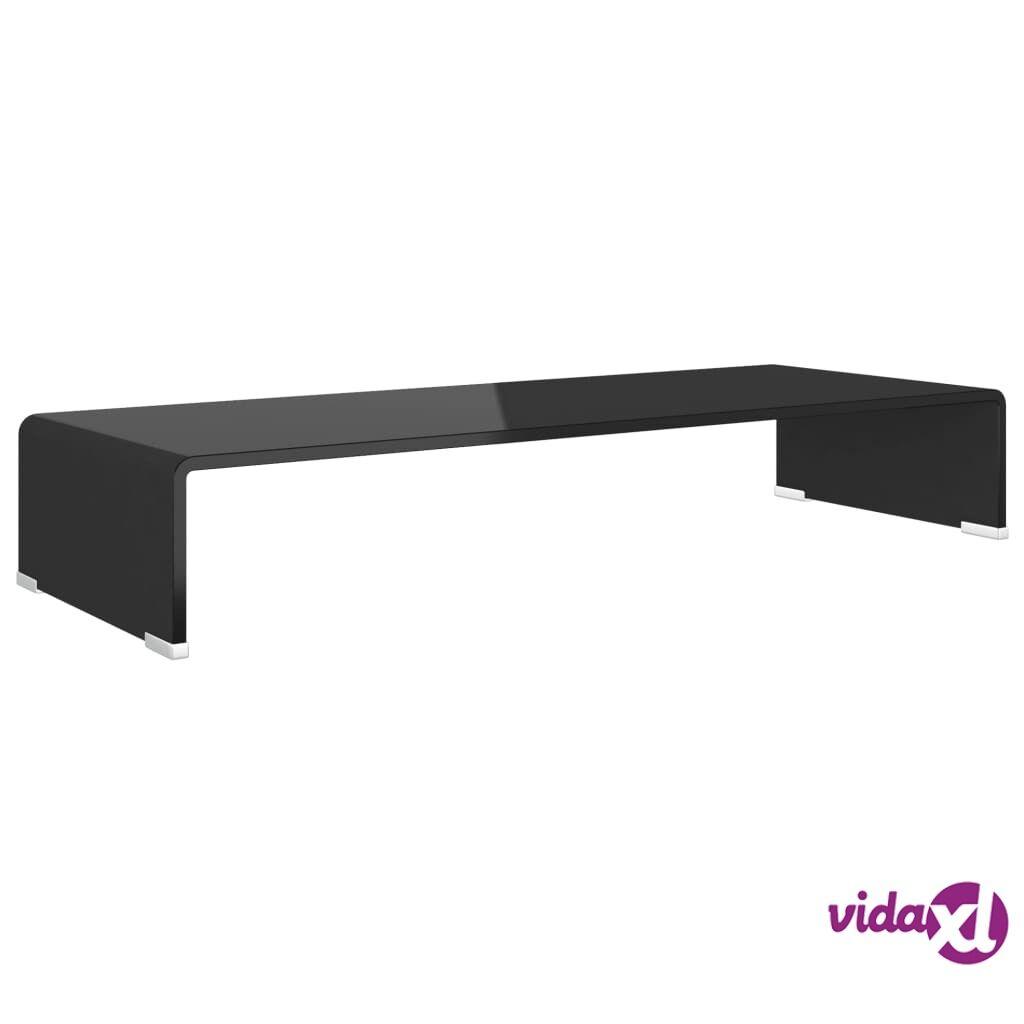 vidaXL TV-taso/Näyttöteline Musta lasi 80x30x13 cm
