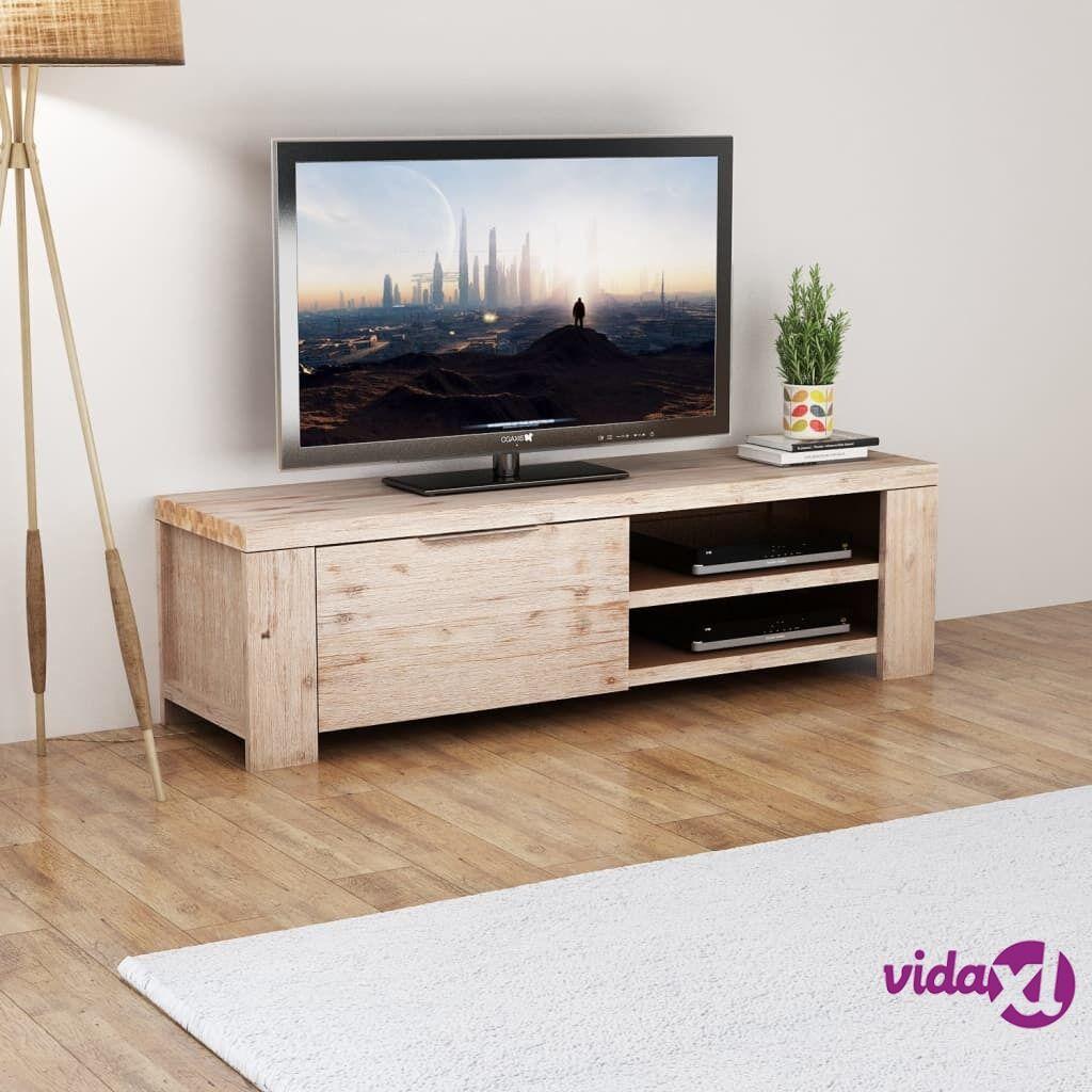 vidaXL TV-taso Kiinteä Harjattu Akaasiapuu 140x38x40 cm