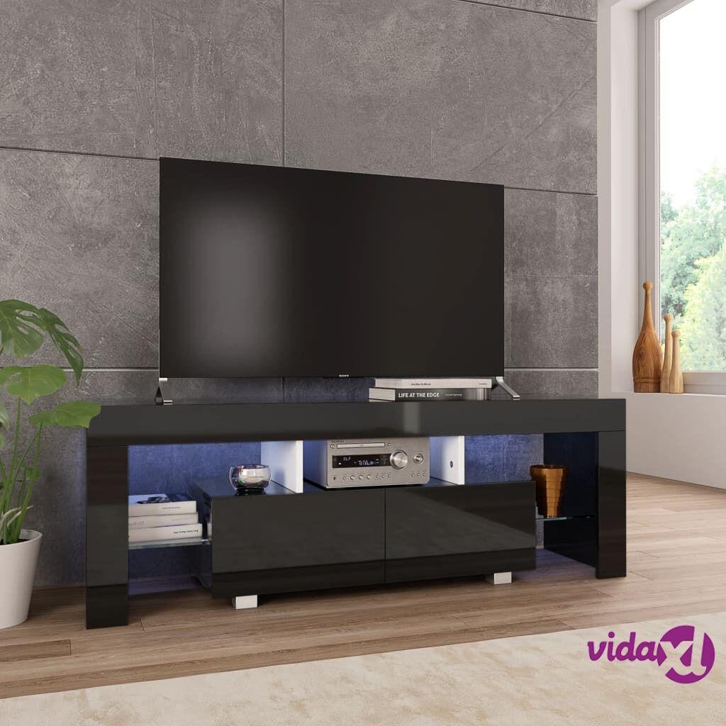 vidaXL TV-taso LED-valoilla korkeakiilto musta 130x35x45 cm