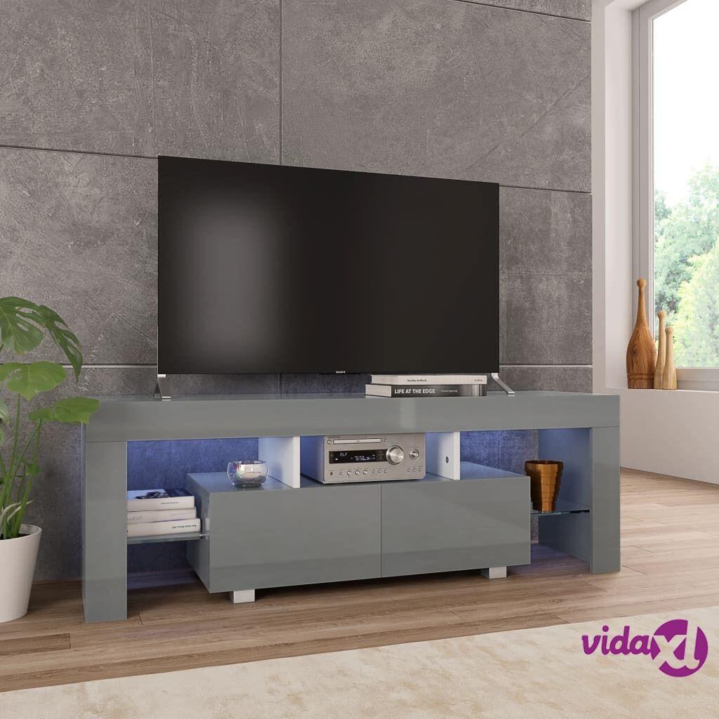 vidaXL TV-taso LED-valoilla korkeakiilto harmaa 130x35x45 cm