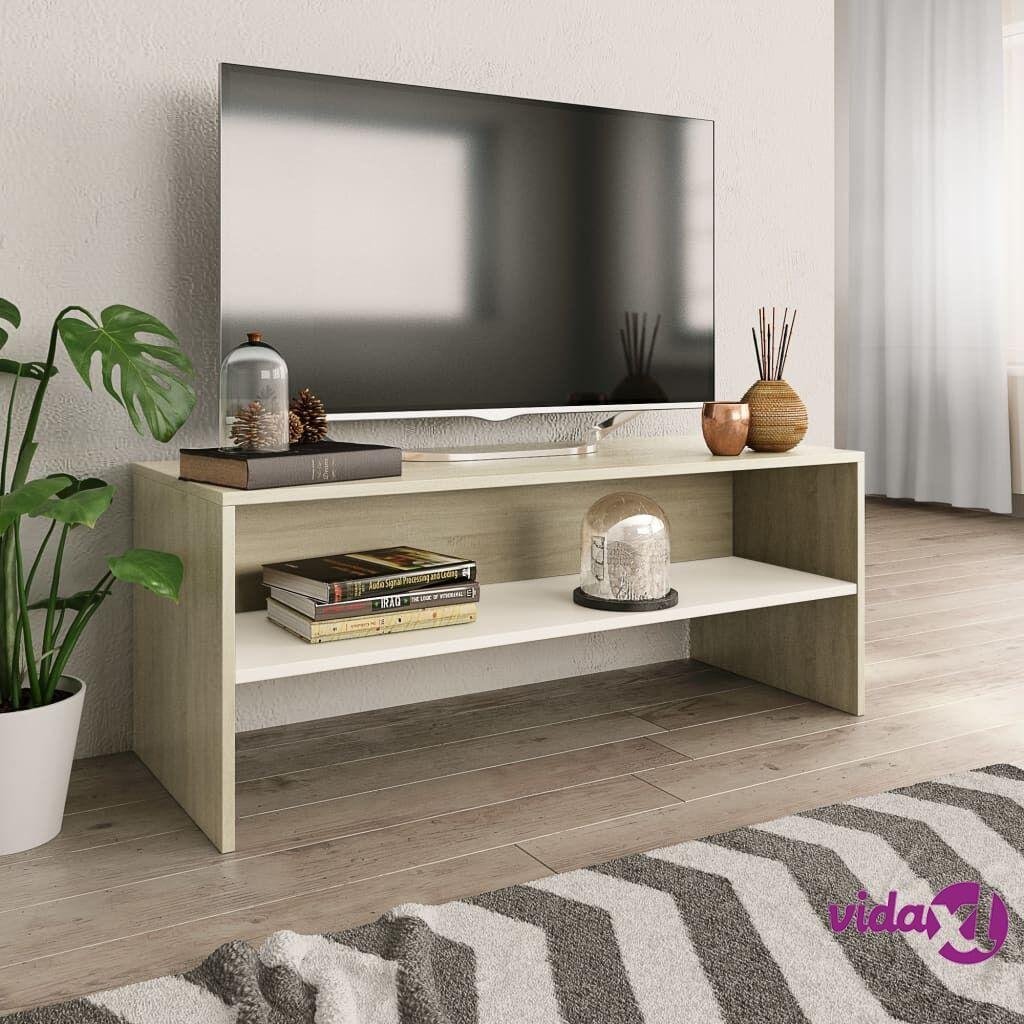 vidaXL TV-taso valkoinen ja Sonoma tammi 100x40x40 cm lastulevy