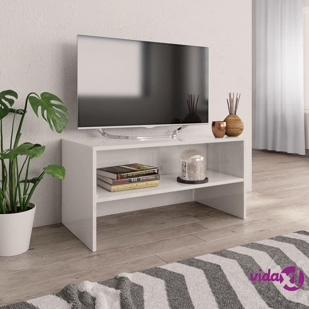 vidaXL TV-taso korkeakiilto valkoinen 80x40x40 cm lastulevy