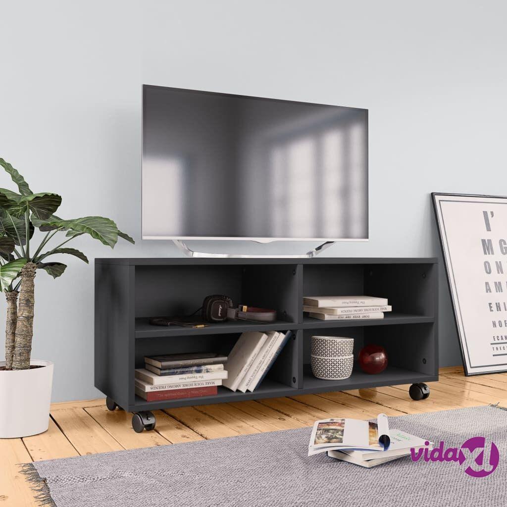 vidaXL TV-taso rullapyörillä harmaa 90x35x35 cm lastulevy