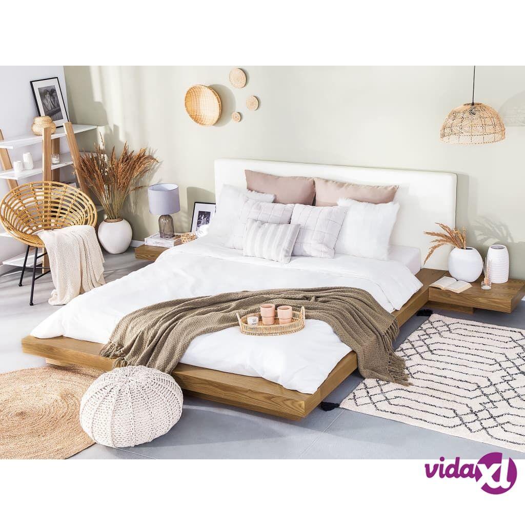 Beliani Japanilaistyylinen sänky ruskea Sis. sälepohjan ja yöpöydät 180x200