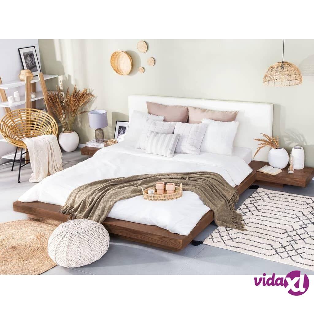 Beliani Japanilaistyylinen sänky - Vaaleanruskea - Sis. sälepohjan ja yöpöydät