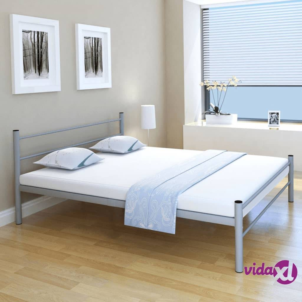 vidaXL Metallinen sängynrunko Harmaa 160x200 cm
