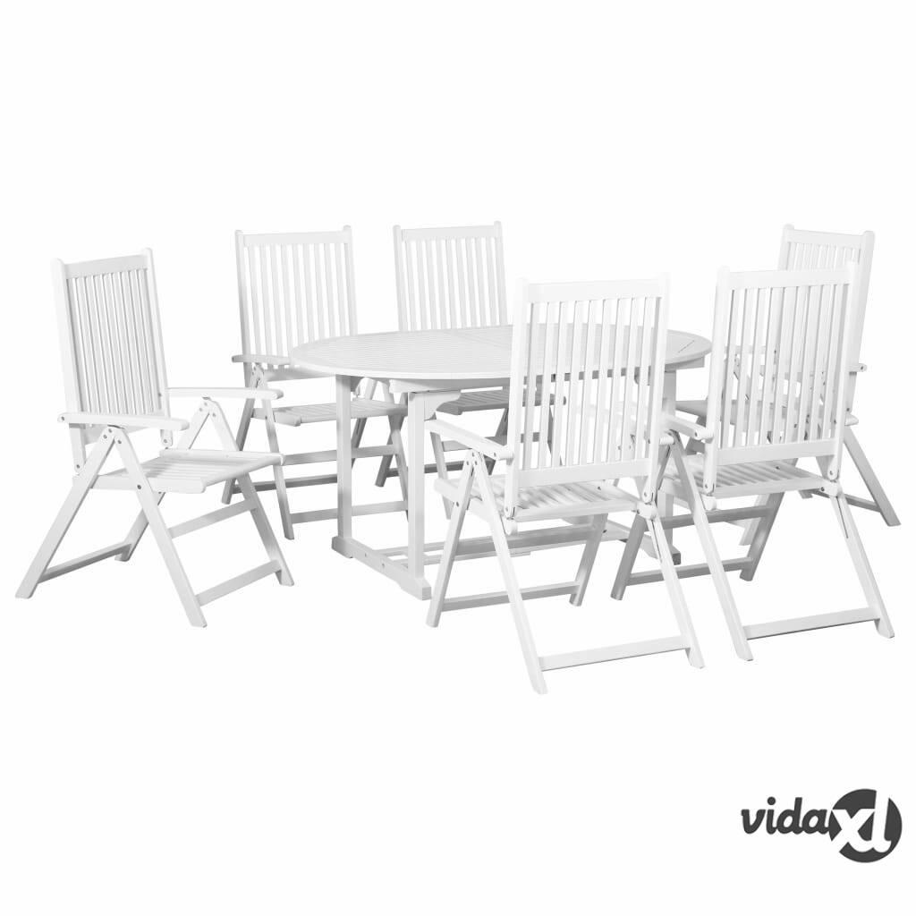 Image of vidaXL 7-osainen ulkoruokailuryhmä jatkettava pöytä puu valkoinen