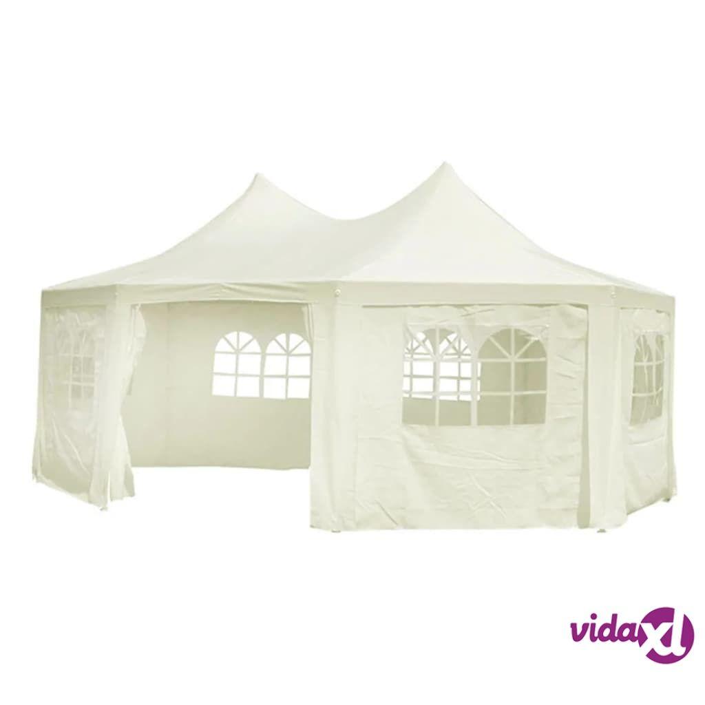 Image of vidaXL Kahdeksankulmainen Juhlateltta valkoinen (kerma) 6 x 4.4 x 3.5 m.