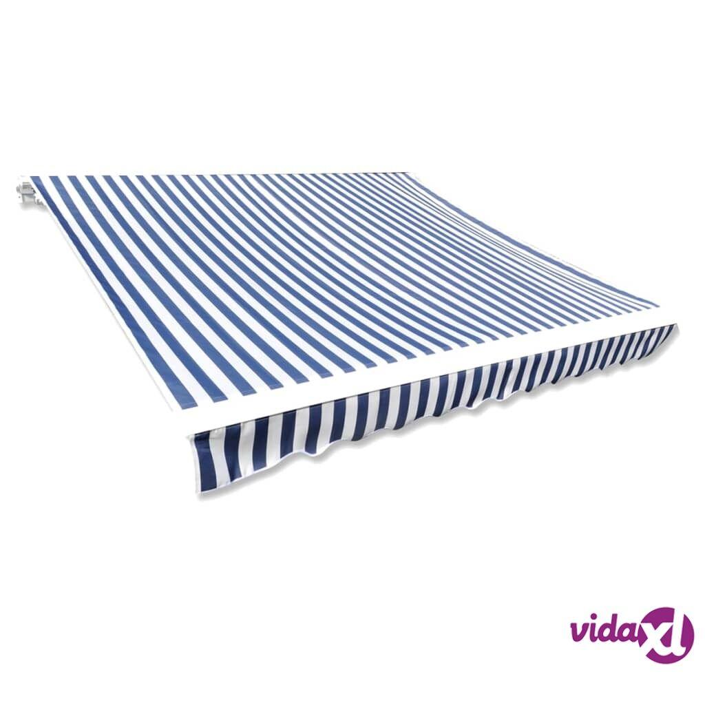 Image of vidaXL Markiisikangas Päivänvarjo Vaihtokangas Sininen ja Valkoinen 3 x 2,5 m