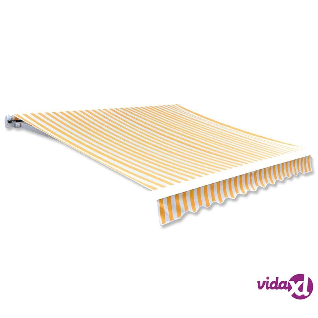 Image of vidaXL Markiisi-/aurinkovarjokangas keltainen & valkoinen 3 x 2,5 m
