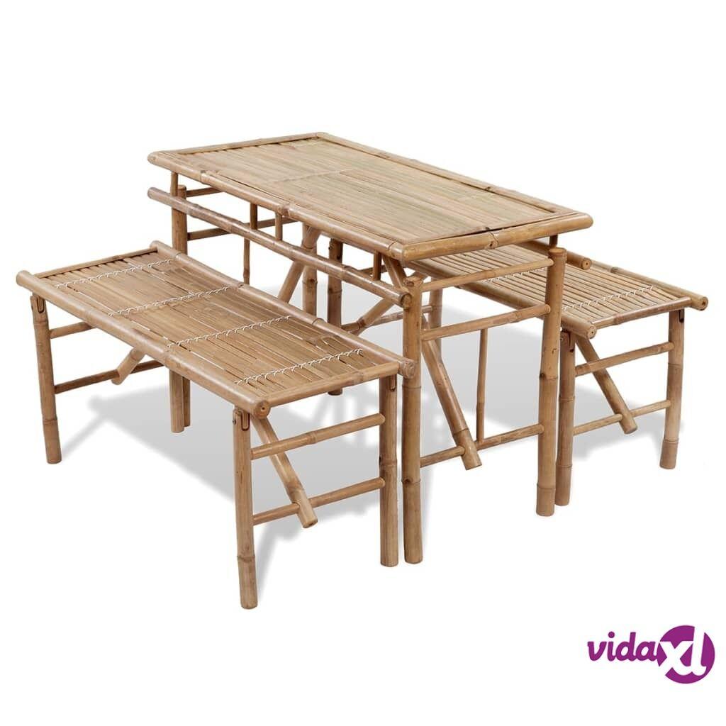 Image of vidaXL Olutpöytä 2:lla penkillä 100 cm bambu