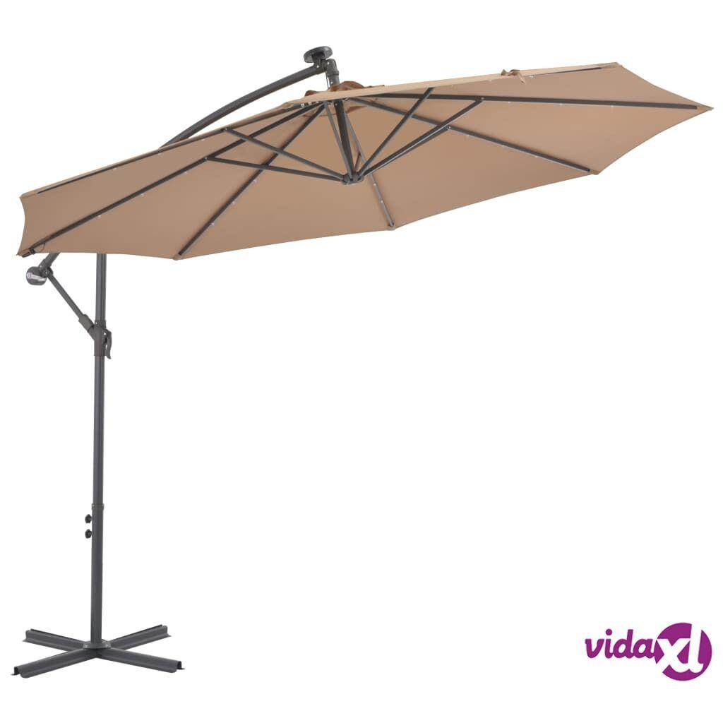 vidaXL Aurinkovarjo LED-valoilla ja teräspylväällä 300 cm ruskeanharmaa
