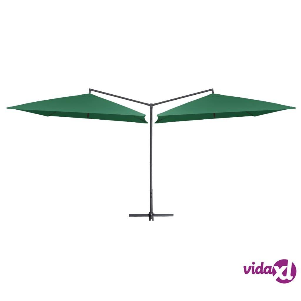 vidaXL Tupla-aurinkovarjo terästanko 250x250 cm vihreä