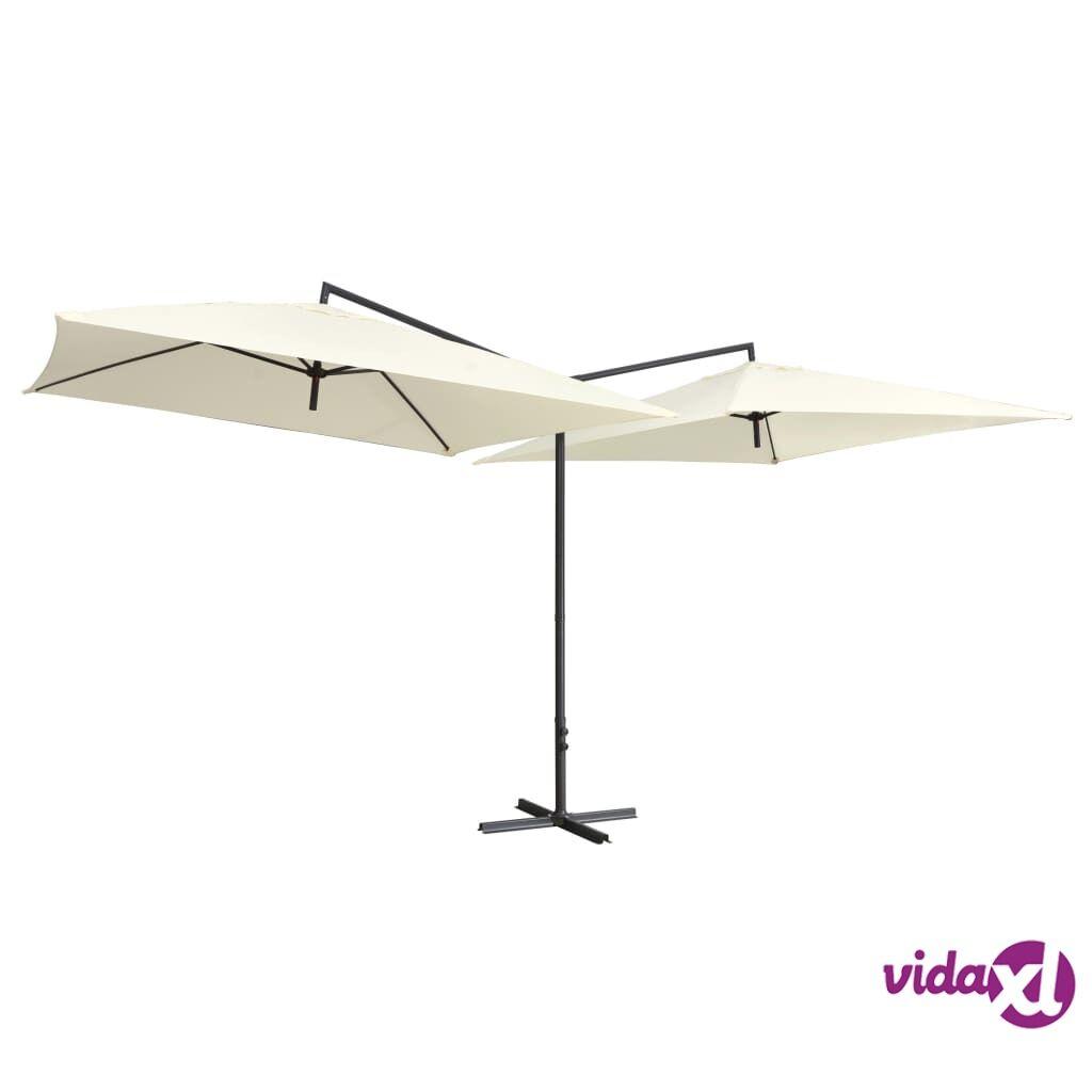 vidaXL Tupla-aurinkovarjo terästanko 250x250 cm hiekanvalkoinen