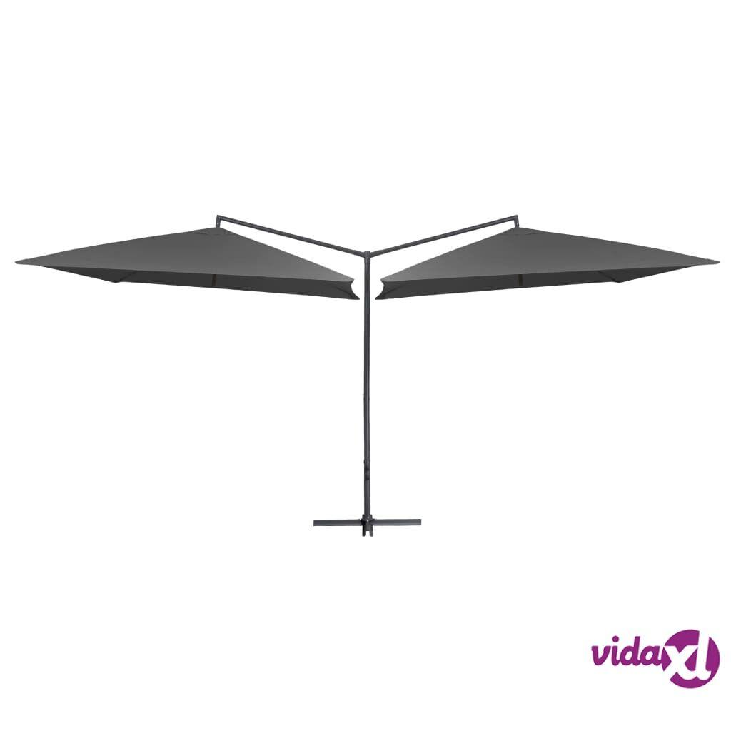 vidaXL Tupla-aurinkovarjo terästanko 250x250 cm antrasiitti