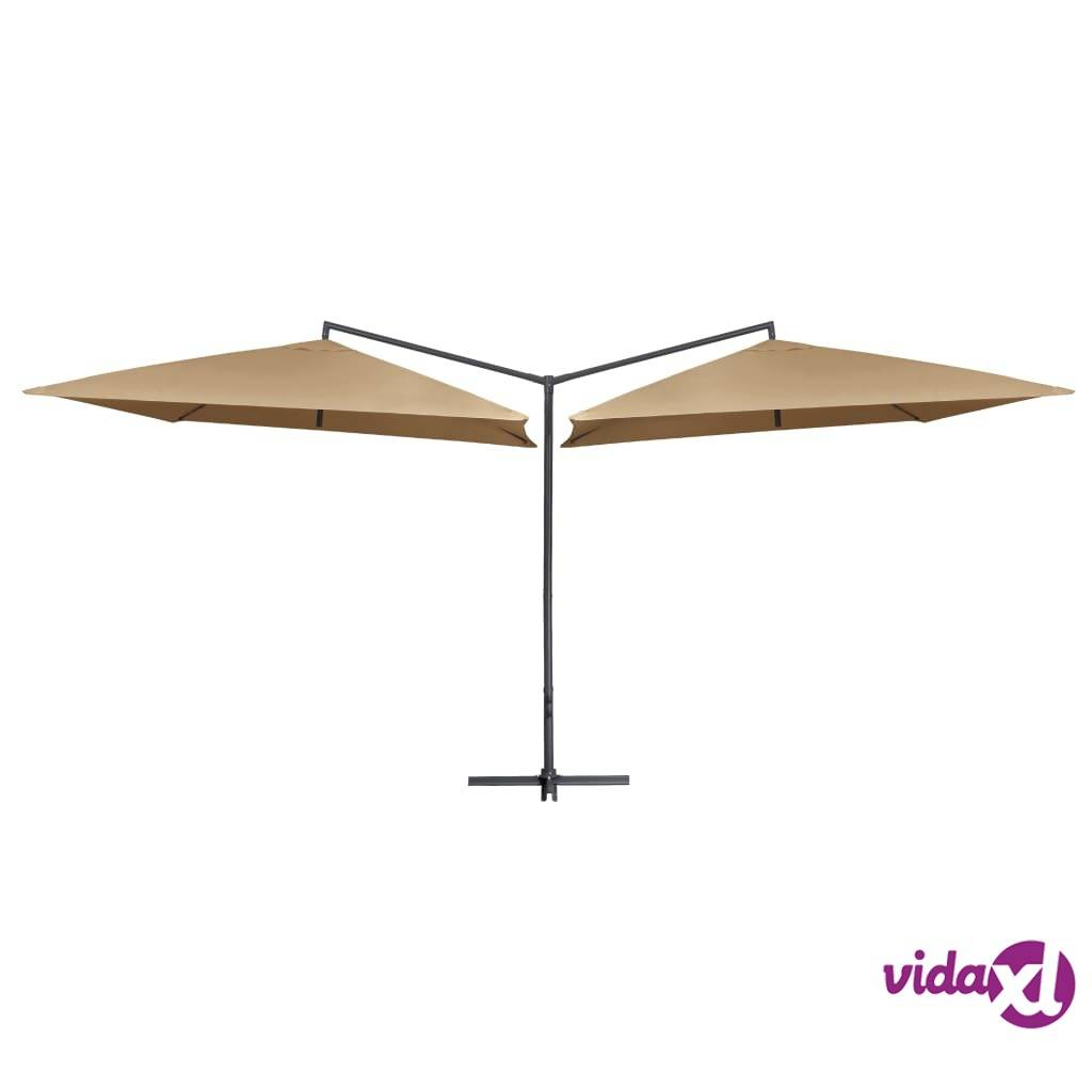 vidaXL Tupla-aurinkovarjo terästanko 250x250 cm ruskeanharmaa