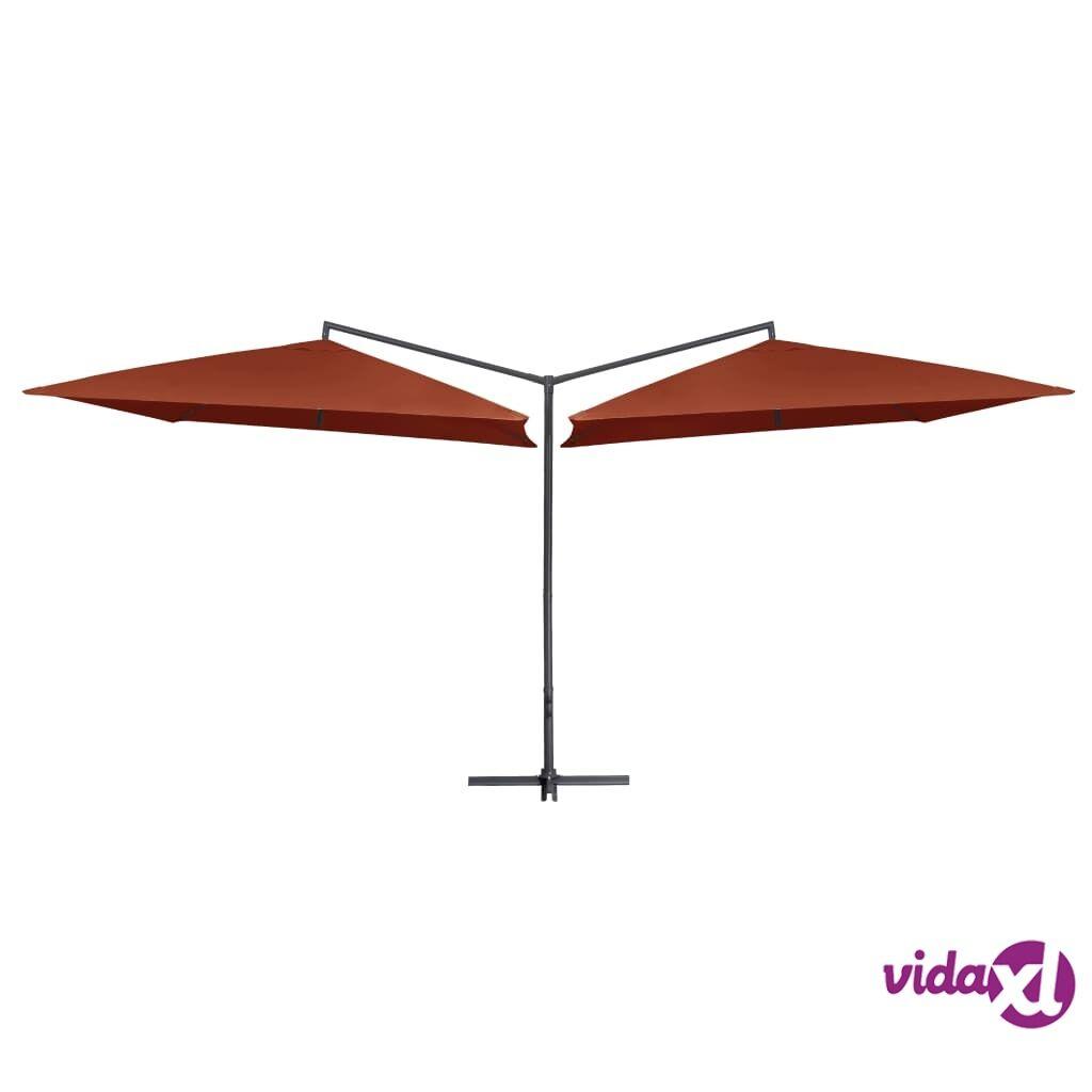 vidaXL Tupla-aurinkovarjo terästanko 250x250 cm terrakotta