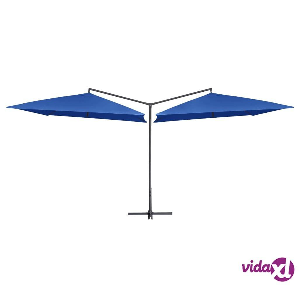 vidaXL Tupla-aurinkovarjo terästanko 250x250 cm taivaansininen