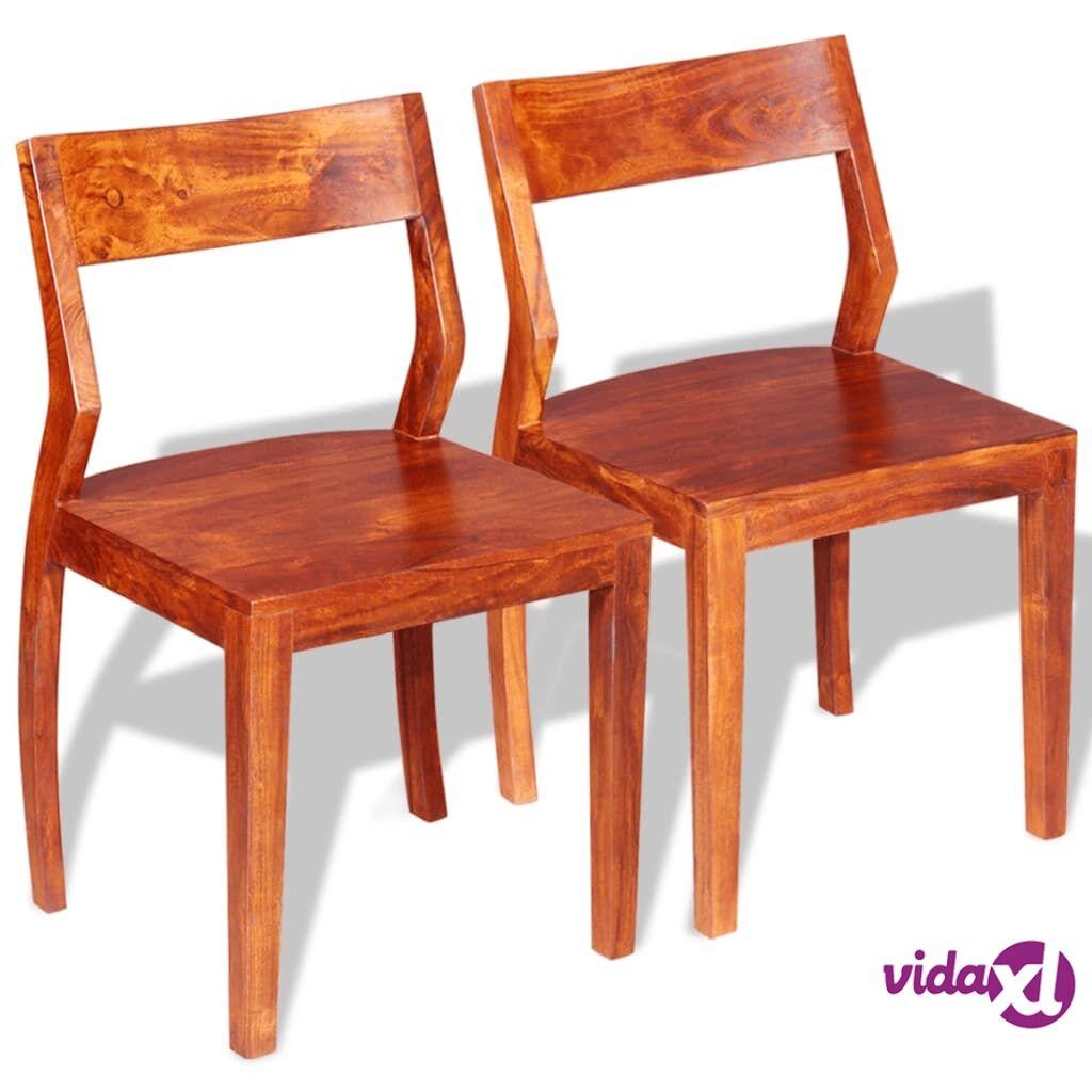 vidaXL Ruokapöydän tuolit 2kpl kiinteä akaasiapuu seesampinnoituksella
