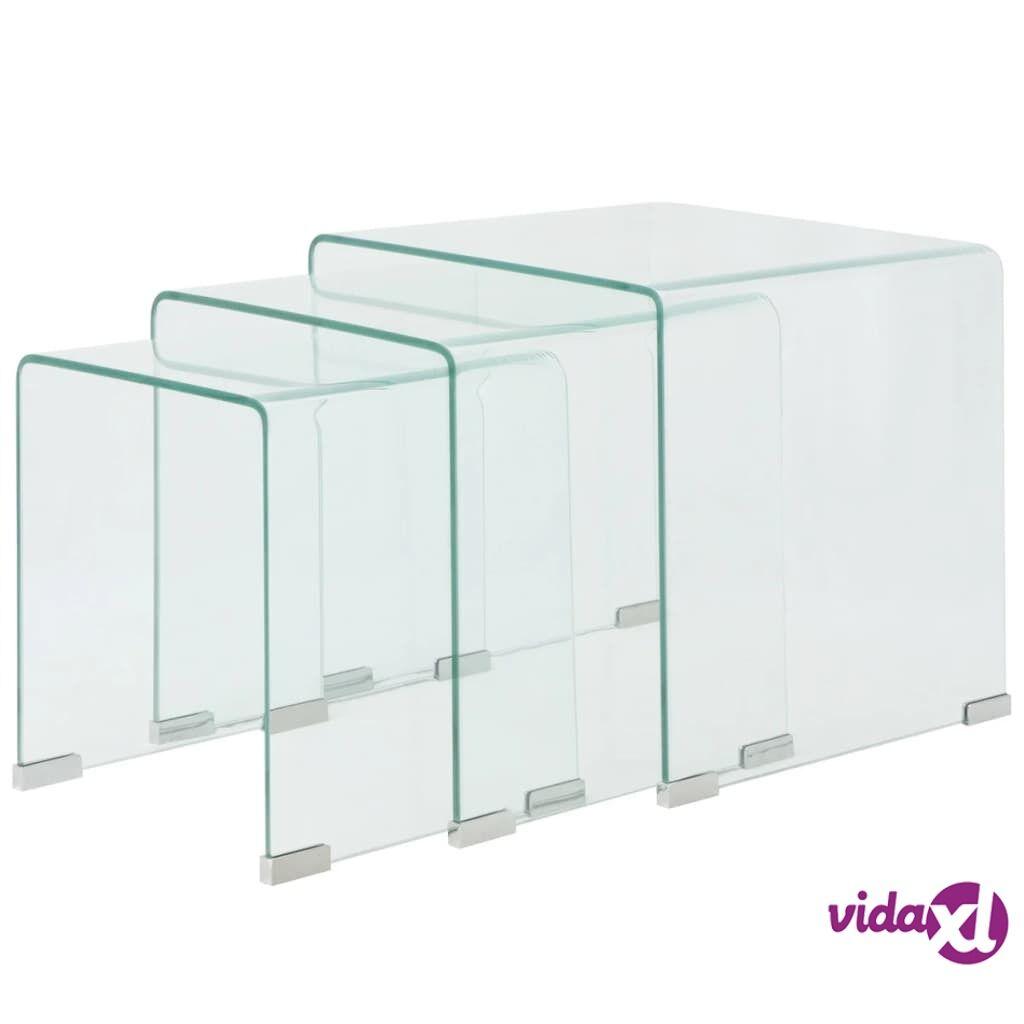 vidaXL 3-osainen sarjapöytä Kirkas karkaistu lasi