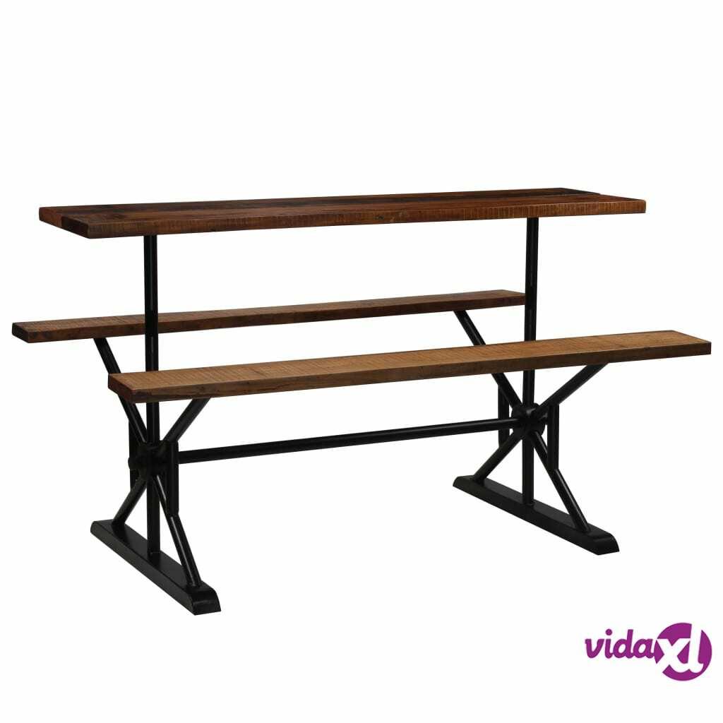 Image of vidaXL Baaripöytä penkeillä kierrätetty puu 180x50x107 cm
