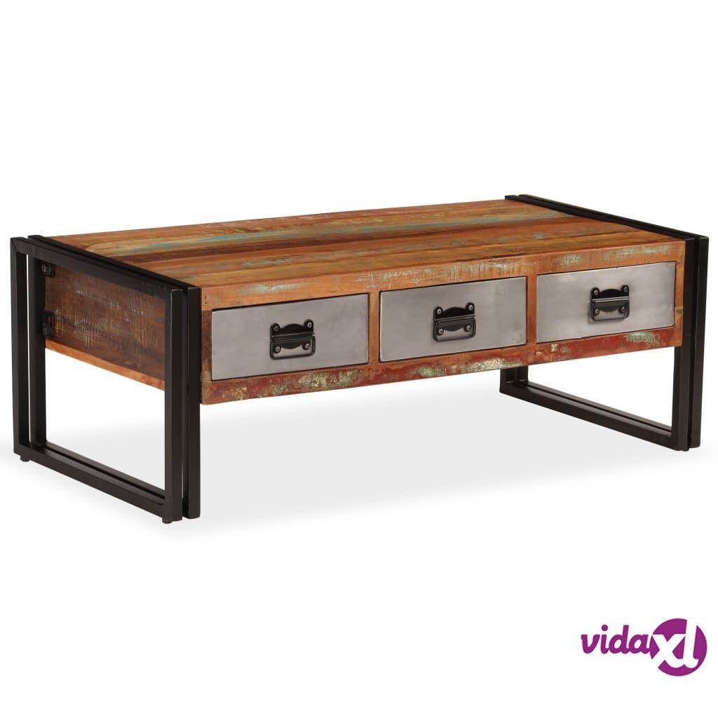 Image of vidaXL Sohvapöytä 3 vetolaatikolla kierrätyspuu 100x50x35 cm