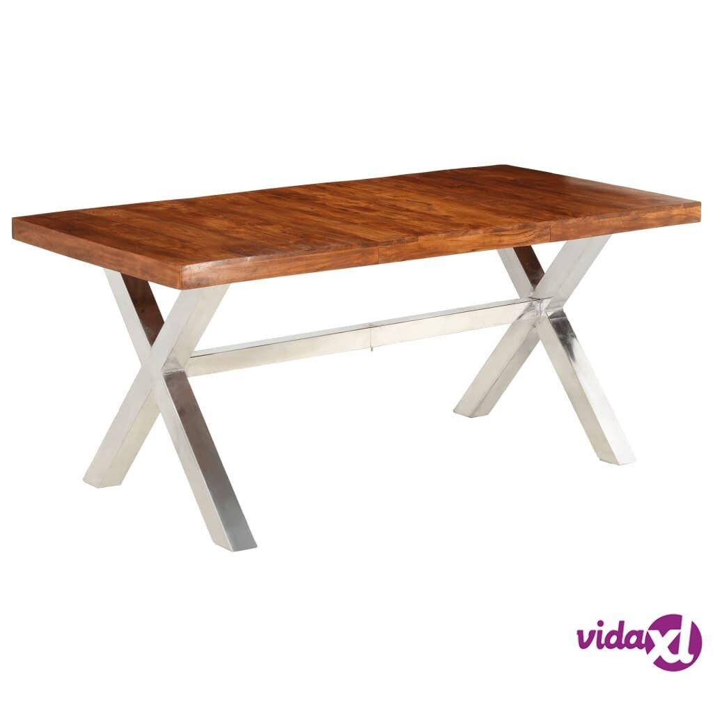 Image of vidaXL Ruokapöytä kiinteä puu seesamviimeistelyllä 180x90x76 cm
